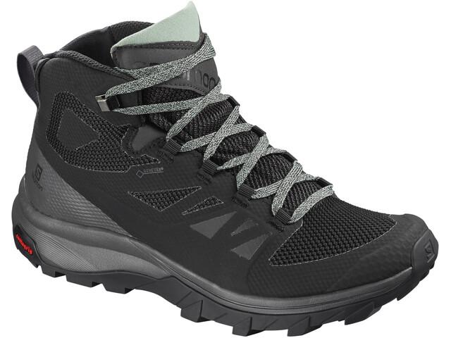 Salomon W's OUTline Mid GTX Shoes Black/Magnet/Green Milieu